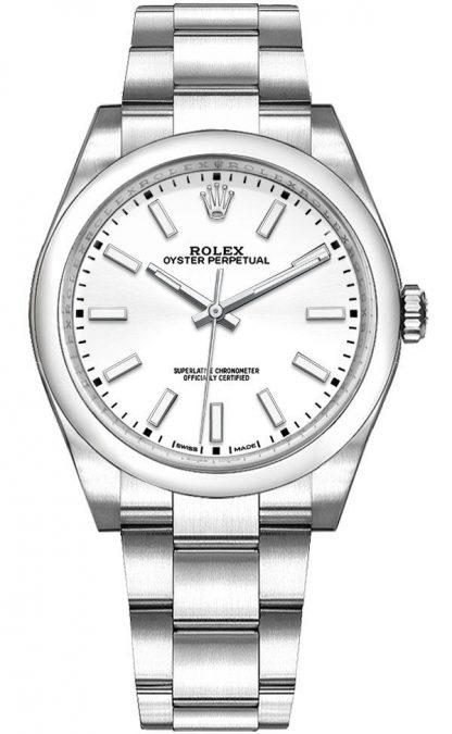 repliche Orologio da donna Rolex Oyster Perpetual 34 quadrante bianco 114200