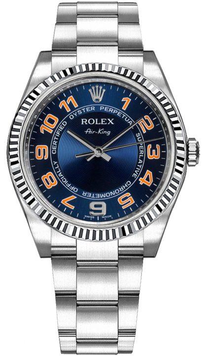 repliche Orologio da donna Rolex Oyster Perpetual Air-King quadrante blu 114234
