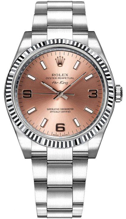 repliche Orologio da donna Rolex Oyster Perpetual Air-King quadrante rosa 114234