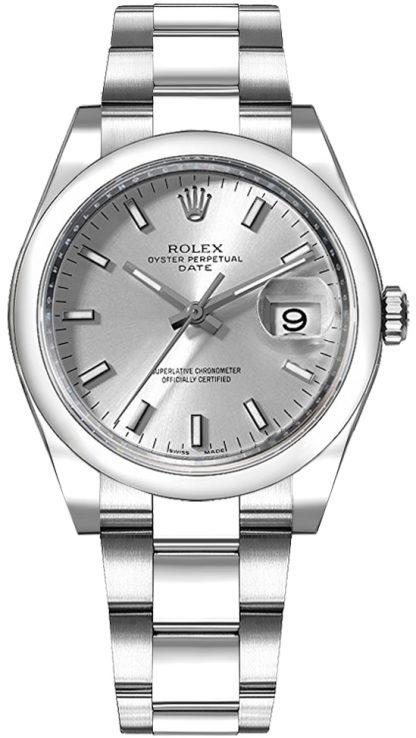 repliche Orologio da donna Rolex Oyster Perpetual Date 34 quadrante argento 115200