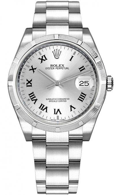repliche Orologio da donna Rolex Oyster Perpetual Date 34 quadrante argento 115210