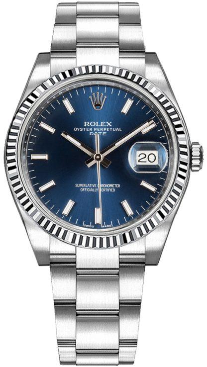 repliche Orologio da donna Rolex Oyster Perpetual Date 34 quadrante blu 115234