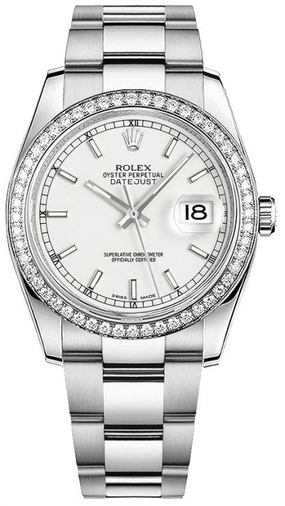 repliche Orologio da polso Rolex Datejust 36 quadrante bianco Oyster 116244