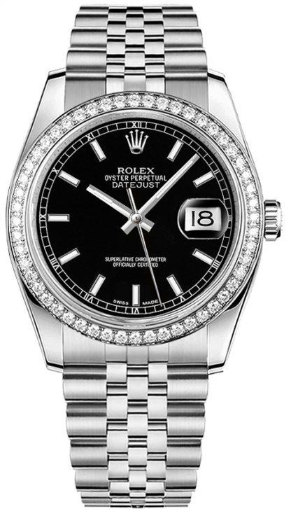 repliche Orologio da polso Rolex Datejust 36 quadrante nero Jubilee 116244