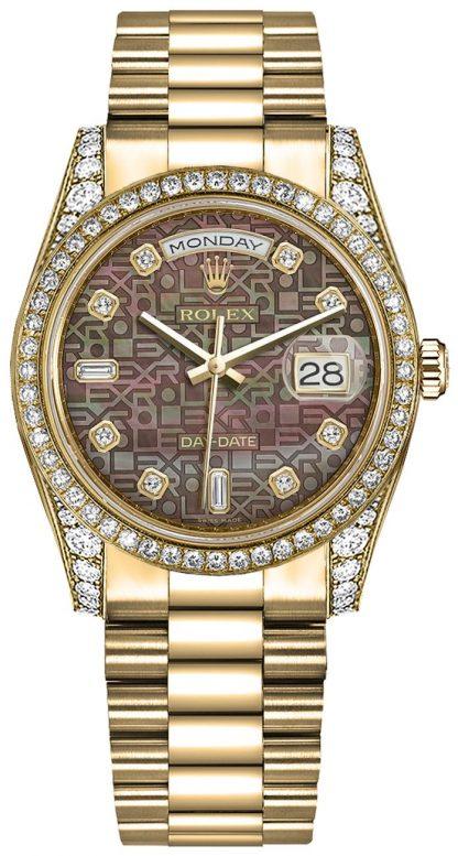 repliche Orologio da polso Rolex Day-Date 36 Diamond Diamond President 118388