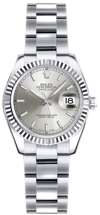 repliche Orologio da polso Rolex Lady-Datejust 26 quadrante argento Oyster 179179