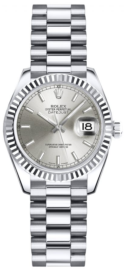 repliche Orologio da polso Rolex Lady-Datejust 26 quadrante argento President 179179