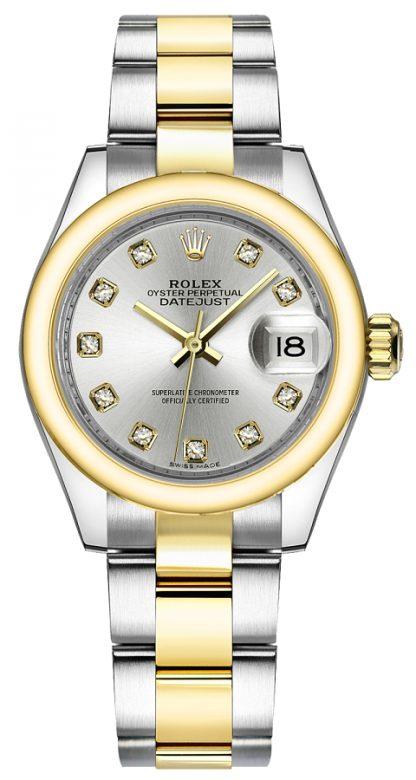 repliche Orologio da polso Rolex Lady-Datejust 28 con diamanti in argento oyster 279163