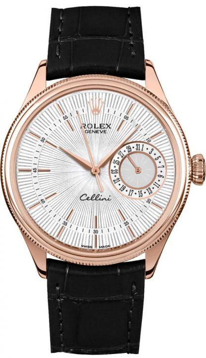 repliche Orologio da uomo Rolex Cellini Date con quadrante guilloché argento 50515