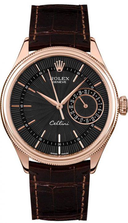 repliche Orologio da uomo Rolex Cellini Date quadrante nero oro 18k Everose da uomo 50515