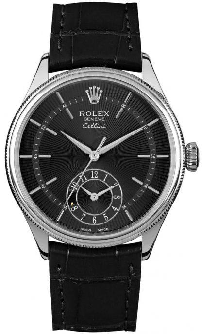 repliche Orologio da uomo Rolex Cellini Dual Time in oro bianco massiccio 18k 50529