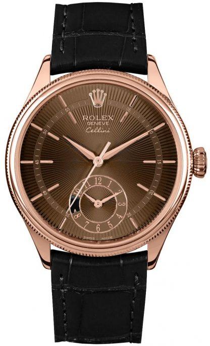 repliche Orologio da uomo Rolex Cellini Dual Time in oro massiccio 18k Everose 50525