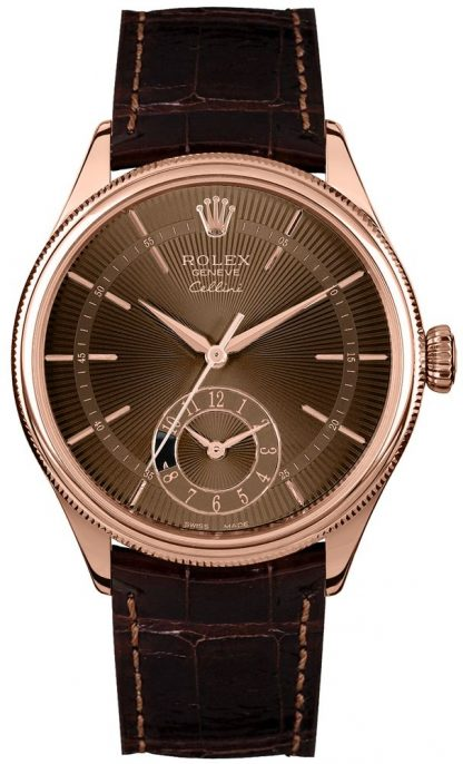 repliche Orologio da uomo Rolex Cellini Dual Time marrone con quadrante guilloché 50525