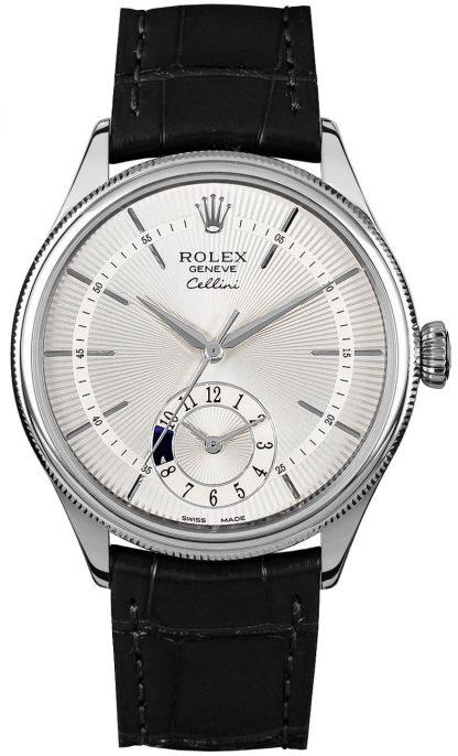 repliche Orologio da uomo Rolex Cellini Dual Time quadrante argento 50529