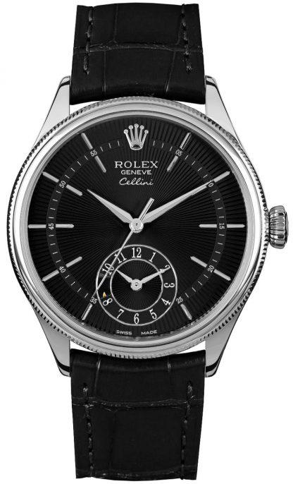 repliche Orologio da uomo Rolex Cellini Dual Time quadrante nero 50529