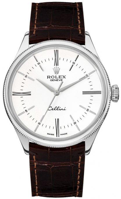 repliche Orologio da uomo Rolex Cellini Time quadrante bianco con indici delle ore 50509