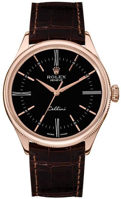 repliche Orologio da uomo Rolex Cellini Time quadrante doppio quadrante nero 50505