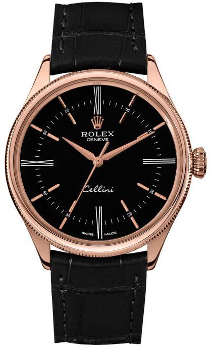 repliche Orologio da uomo Rolex Cellini Time quadrante nero 50505