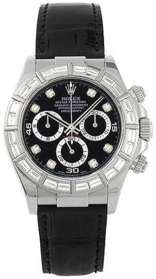 repliche Orologio da uomo Rolex Cosmograph Daytona con quadrante nero e diamante 116589