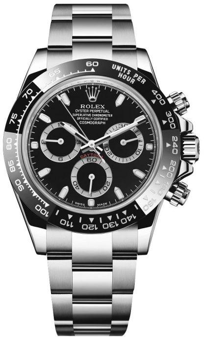 repliche Orologio da uomo Rolex Cosmograph Daytona quadrante nero 116500LN