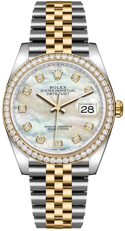 repliche Orologio da uomo Rolex Datejust 36 con madreperla e diamanti 116243