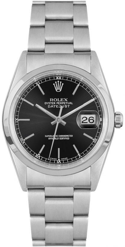 repliche Orologio da uomo Rolex Datejust 36 quadrante nero 16200