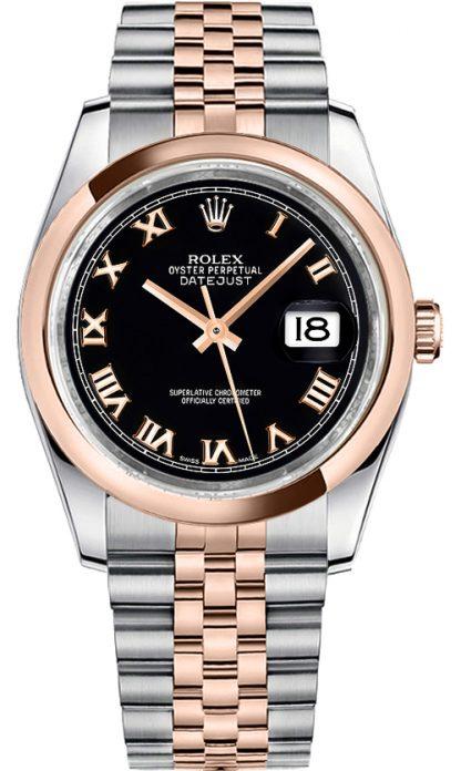 repliche Orologio da uomo Rolex Datejust 36 quadrante nero oro e acciaio 116201