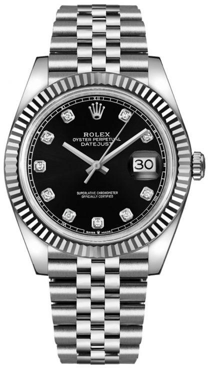 repliche Orologio da uomo Rolex Datejust 41 Black Diamond 126334