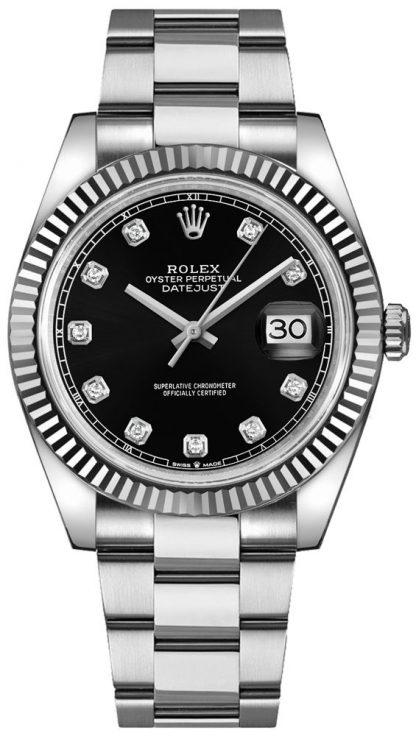 repliche Orologio da uomo Rolex Datejust 41 con quadrante in diamante nero 126334