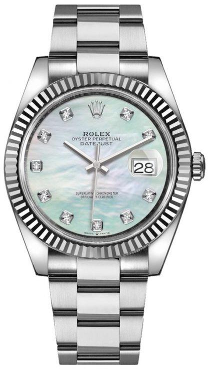 repliche Orologio da uomo Rolex Datejust 41 con quadrante in madreperla e diamanti 126334