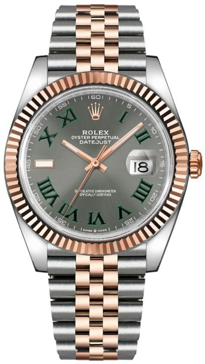 repliche Orologio da uomo Rolex Datejust 41 numero romano verde 126331