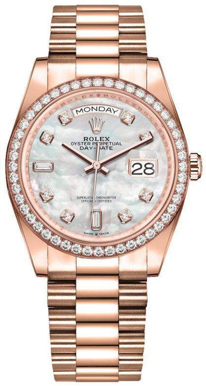 repliche Orologio da uomo Rolex Day-Date 36 con diamanti Everose Gold da uomo 128345RBR
