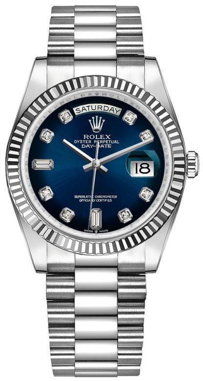repliche Orologio da uomo Rolex Day-Date 36 quadrante blu diamante con quadrante nero 128239