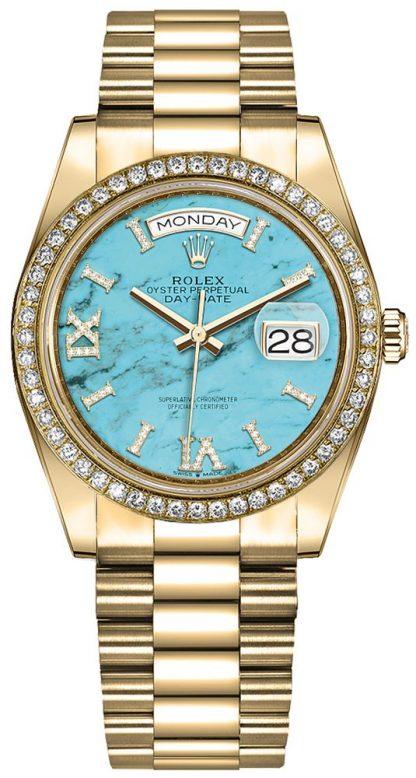 repliche Orologio da uomo Rolex Day-Date 36 quadrante con diamanti turchesi 128348RBR