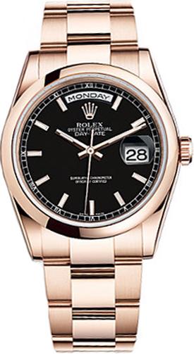 repliche Orologio da uomo Rolex Day-Date 36 quadrante nero oro rosa 118205