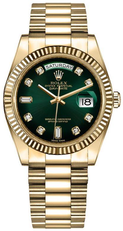repliche Orologio da uomo Rolex Day-Date 36 quadrante verde diamante orologio da uomo 128238