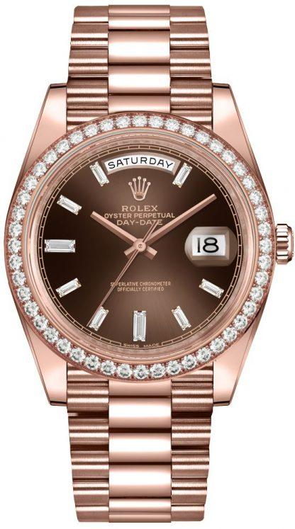 repliche Orologio da uomo Rolex Day-Date 40 Diamond Hour Markers 228345RBR