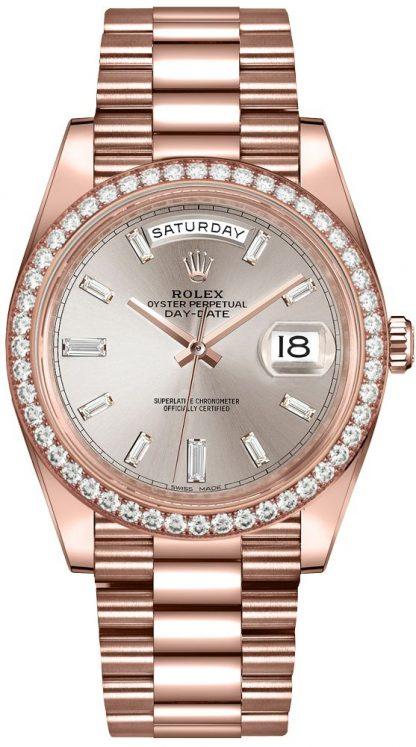 repliche Orologio da uomo Rolex Day-Date 40 Sundust Diamond Dial 228345RBR