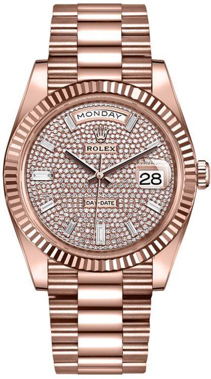 repliche Orologio da uomo Rolex Day-Date 40 con quadrante pavé di diamanti 228235