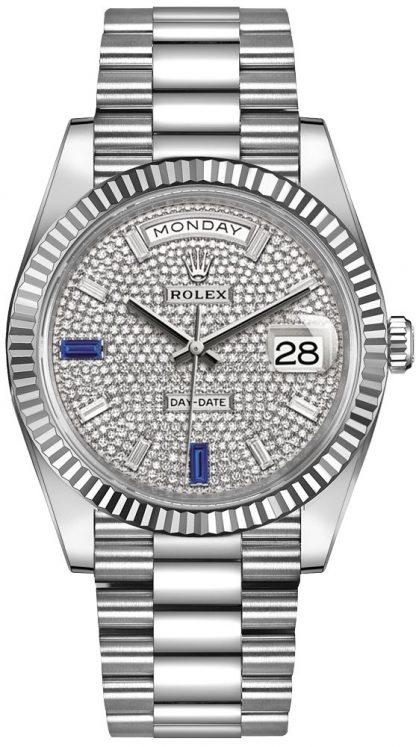 repliche Orologio da uomo Rolex Day-Date 40 con quadrante pavé di diamanti 228239