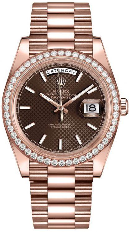 repliche Orologio da uomo Rolex Day-Date 40 in oro 18k Everose da uomo 228345RBR