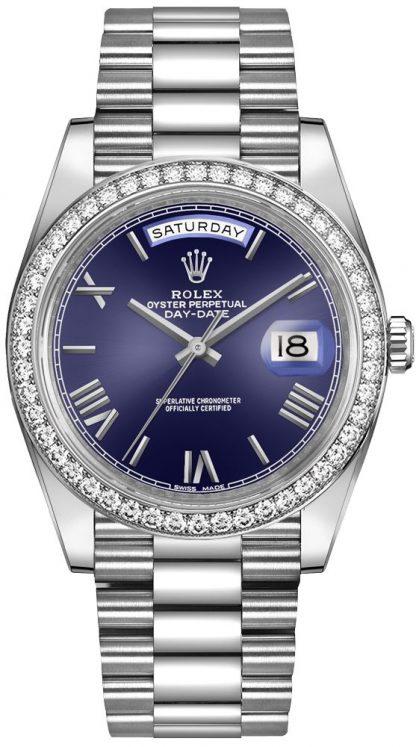 repliche Orologio da uomo Rolex Day-Date 40 in oro bianco con diamanti e lunetta 228349RBR