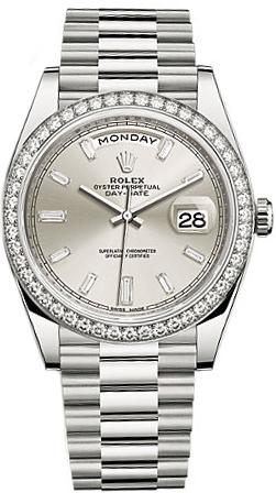 repliche Orologio da uomo Rolex Day-Date 40 in oro bianco massiccio con diamanti 228349RBR