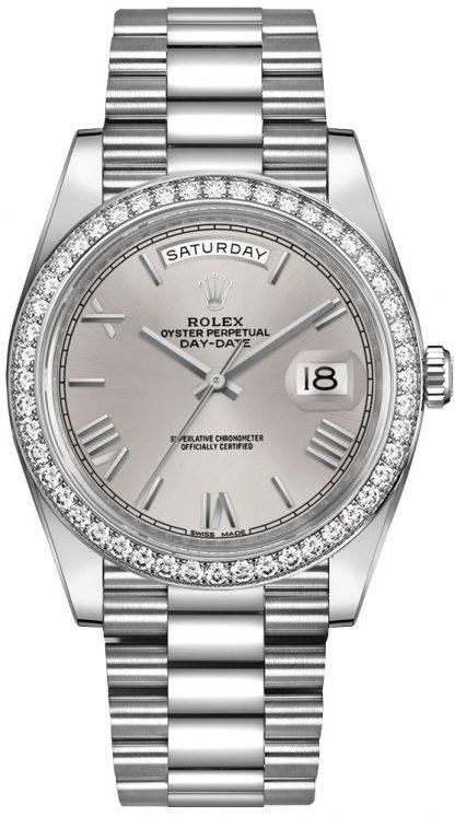 repliche Orologio da uomo Rolex Day-Date 40 quadrante argento 228349RBR