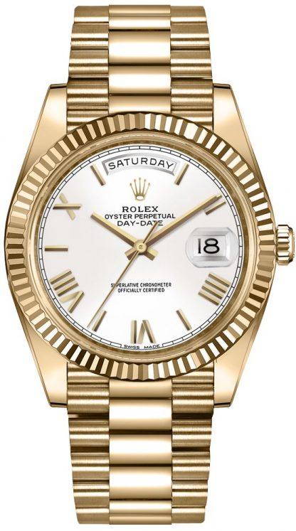 repliche Orologio da uomo Rolex Day-Date 40 quadrante bianco oro 228238