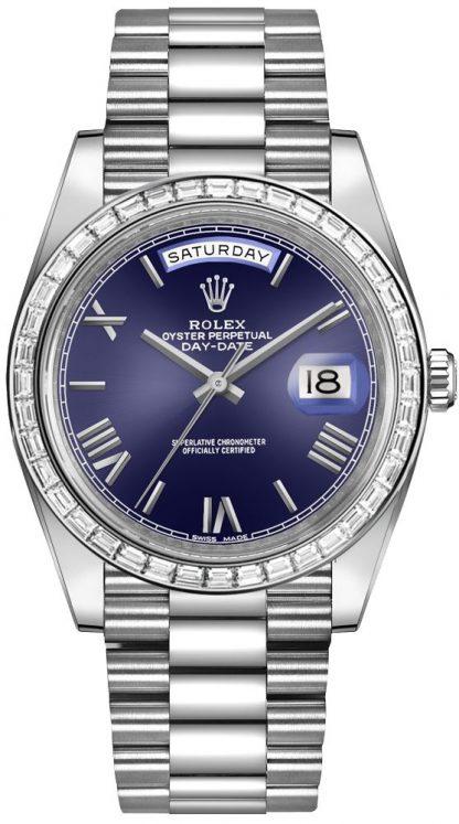 repliche Orologio da uomo Rolex Day-Date 40 quadrante blu con bracciale President 228396TBR