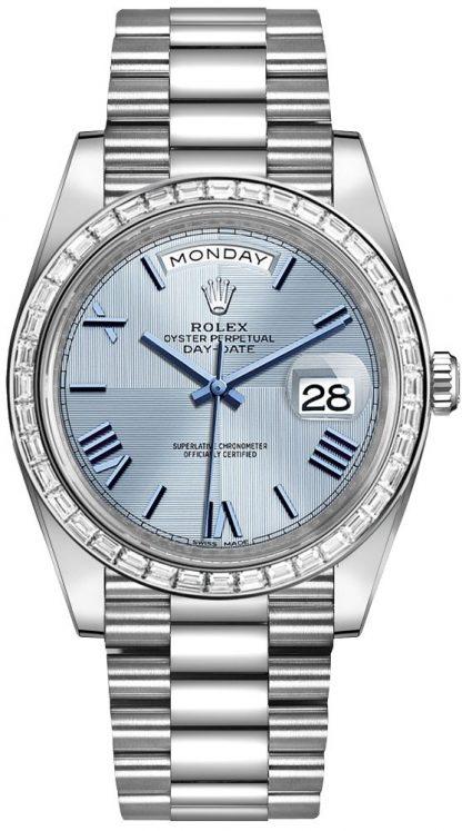 repliche Orologio da uomo Rolex Day-Date 40 quadrante blu ghiaccio 228396TBR