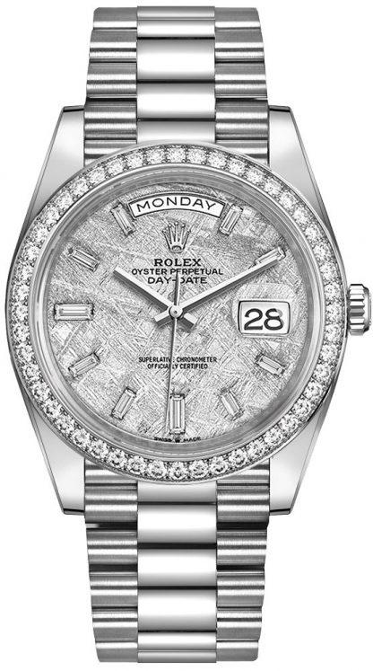 repliche Orologio da uomo Rolex Day-Date 40 quadrante in meteorite con diamanti Diamond Bezel 228349RBR