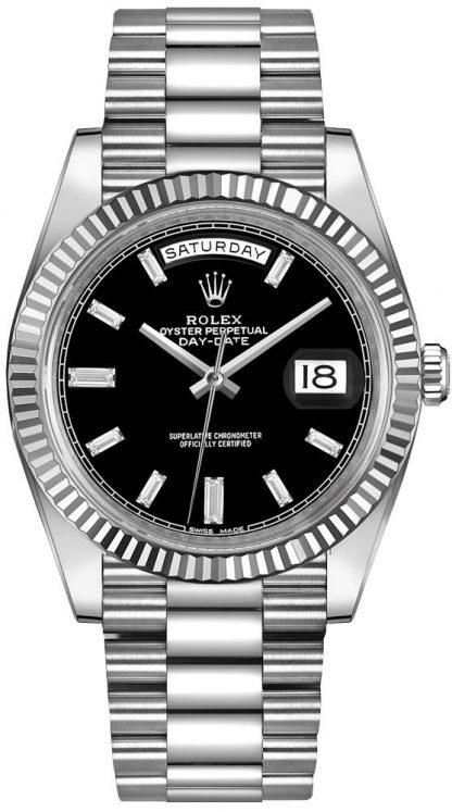 repliche Orologio da uomo Rolex Day-Date 40 quadrante nero diamante 228239
