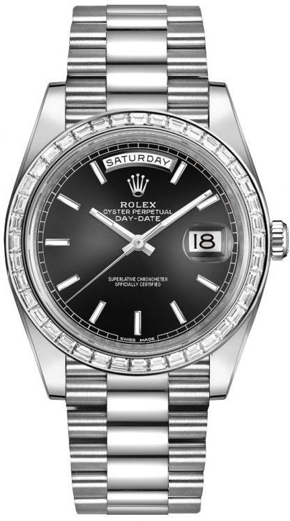 repliche Orologio da uomo Rolex Day-Date 40 quadrante nero platino 228396TBR